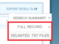Search Summary Options List